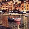 Portofino e la barca rosa - 1996, cm. 70x100