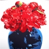 Peonie rosse nel vaso blu - 2015 - cm 100x100