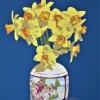 Dodici narcisi gialli nel vaso d'epoca - 2021 - cm 70x70